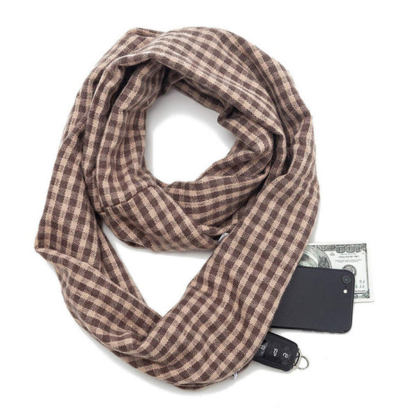 Travel in Style Scarf with Secret Hidden Zipper Pocket