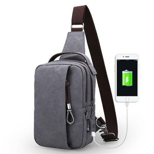 Canvas Sling Bag with USB Charging