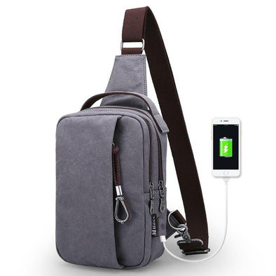 Canvas Sling Bag with USB Charging-Readyprosupply-Readyprosupply