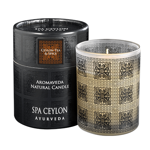 CEYLON TEA & SPICE - Aromaveda Natural Candle with Paper. A 100% natural blend of vegetable waxes & pure aromatic essential oils. Tube
