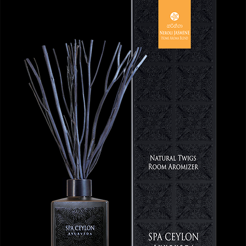 NATURAL TWIGS ROOM AROMIZER NEROLI JASMINE - BLACK, A decorative natural Room Aromizer combining dried natural twigs with pure essential oils & natural fragrance compounds.