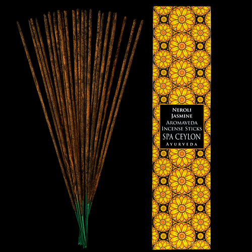 NEROLI JASMINE - AROMAVEDA INCENSE STICKS. These traditional Ayurveda aroma incense sticks combining wild-crafted herbs, pure essential oils, natural resins & fragrance compounds.