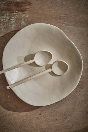 Organic porcelain serving bowl