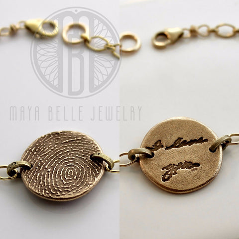 Fingerprint and Handwriting bracelet - Maya Belle Jewelry