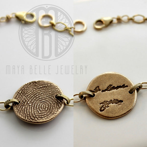 Thumbprint, Fingerprint and Handwriting Reversible Bracelet from JPEG image in Pure Bronze and 14k gf - Maya Belle Jewelry