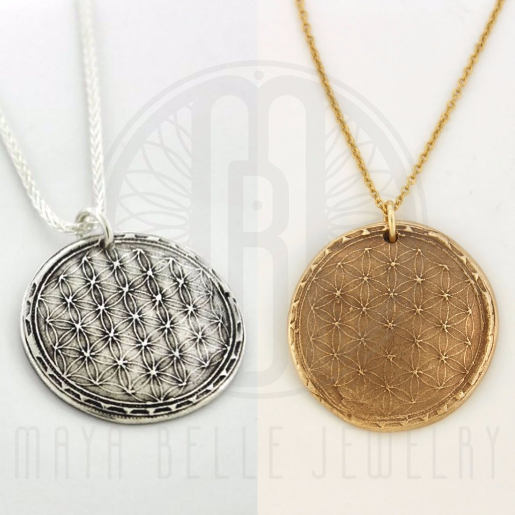 Sacred Geometry: Flower of Life Necklace in Silver or Bronze