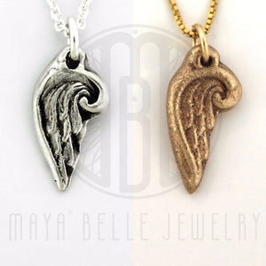 Add a Handmade Angel Wing Charm in Bronze or Pure, Solid Silver (.999)