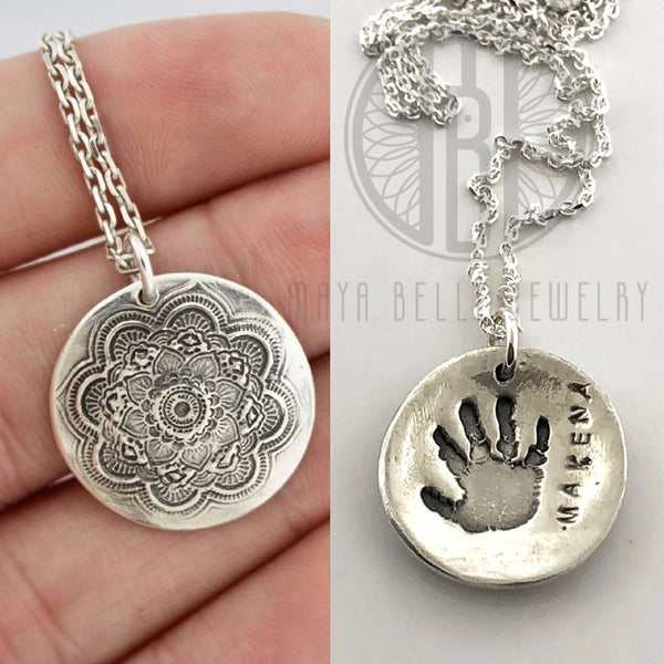 Large Mandala Necklace with Baby Hand or Footprint in Silver or Bronze - Maya Belle Jewelry