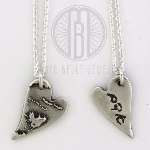 Baby's handprint or footprint with Mom's handwriting in Hebrew - Maya Belle Jewelry