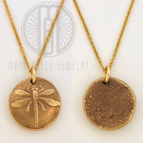 Dragonfly Fingerprint Pendant in Pure Bronze, 14k Gold Filled necklace