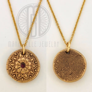 Mandala Fingerprint Necklace with Set Birthstone in Choice of Silver or Bronze