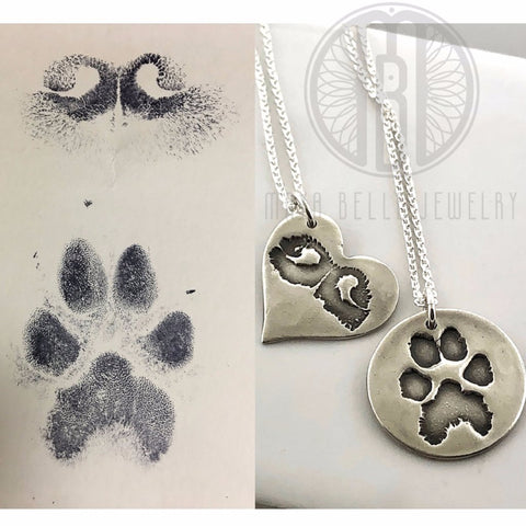 Large Dog Nose Print Necklace in Silver