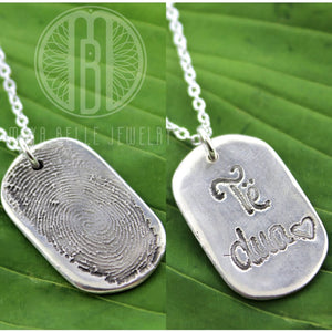 Dog Tag necklace with Fingerprint and Handwriting - Maya Belle Jewelry