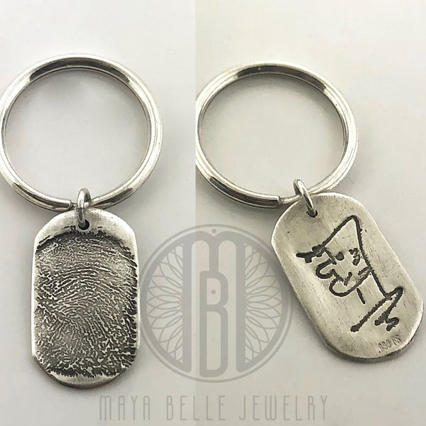 Dog Tag FINGERPRINT keychain, with custom HANDWRITING on the reverse