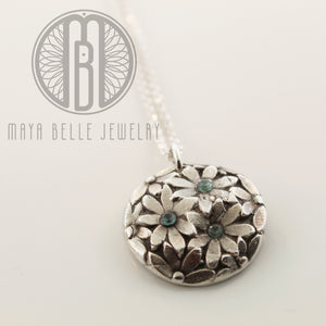 Daisy fingerprint necklace with or without custom fingerprint on reverse - Maya Belle Jewelry
