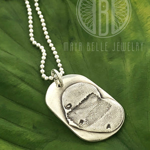 Pure silver Heart / Dog tag with one, two, or three fingerprints engraving on the reverse