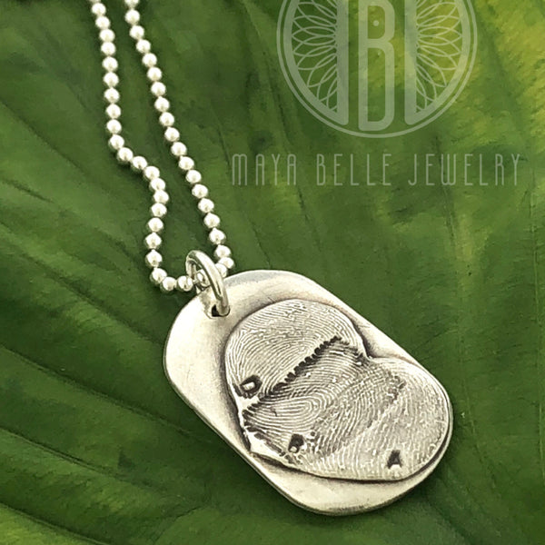Silver Heart Dog Tag Fingerprint  Necklace with up to Three Fingerprints and Choice of Engraving