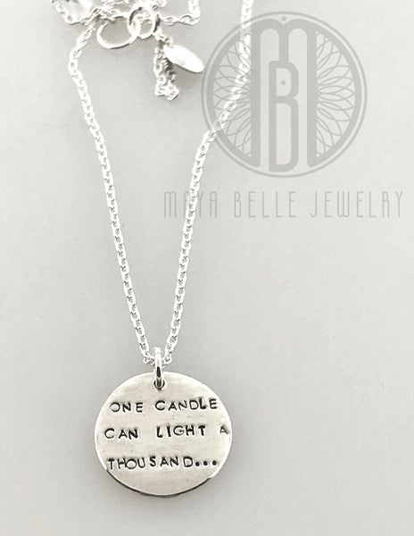 """One Candle Can Light a Thousand..."" Engraved Necklace with Custom Handwriting in Pure Solid Silver - Maya Belle Jewelry"