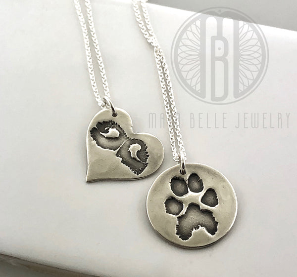 Large Dog Nose Print Necklace in Silver - Maya Belle Jewelry