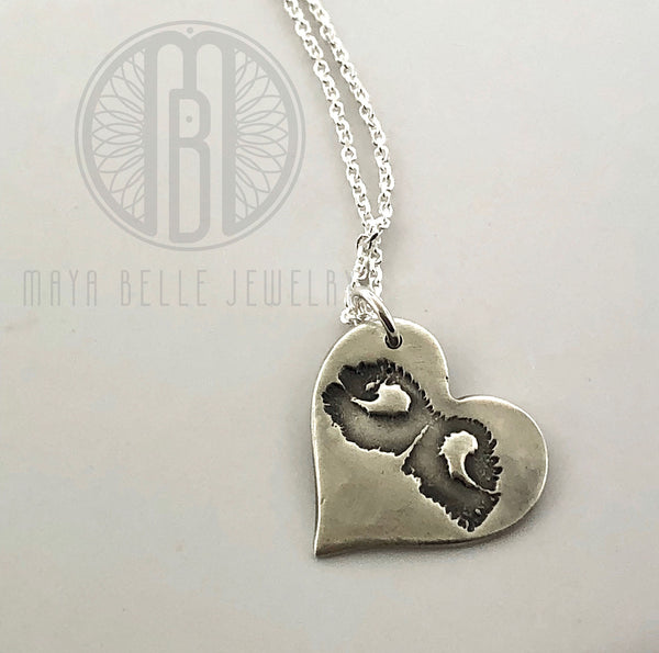 Large Heart Charm DOGPRINT necklace made from JPEG image