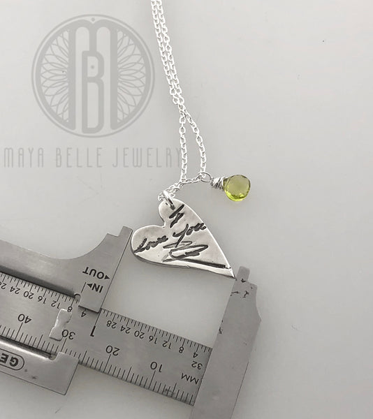 Handwriting Necklace with Birthstone in Silver - Maya Belle Jewelry