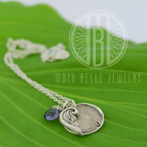 Small Fingerprint Charm with Angel Wing and Birthstone and or Initial - Maya Belle Jewelry