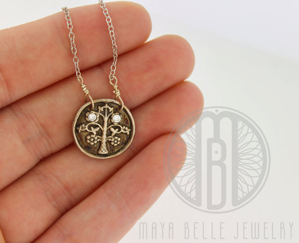 Tree of Life Necklace with Inlaid Birthstones - Maya Belle Jewelry