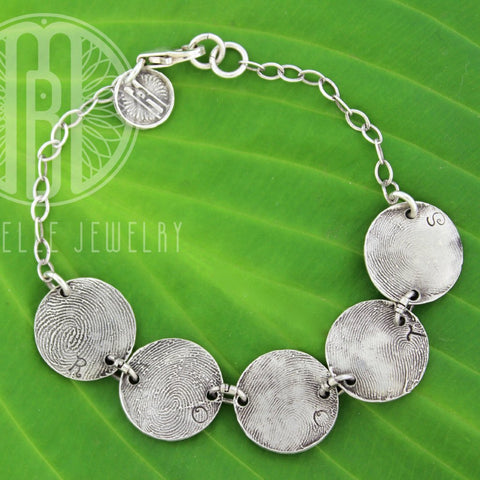 Fingerprint Bracelet With Initials in Choice of Bronze or Silver and Shape - Maya Belle Jewelry