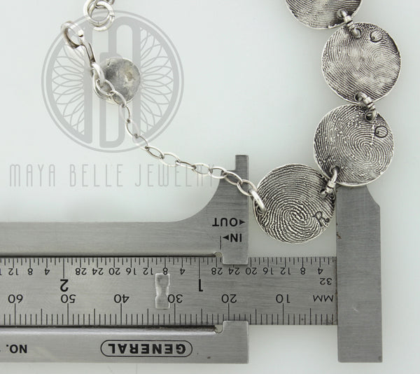 Fingerprint Bracelet from JPEG image in Fine Silver - Maya Belle Jewelry