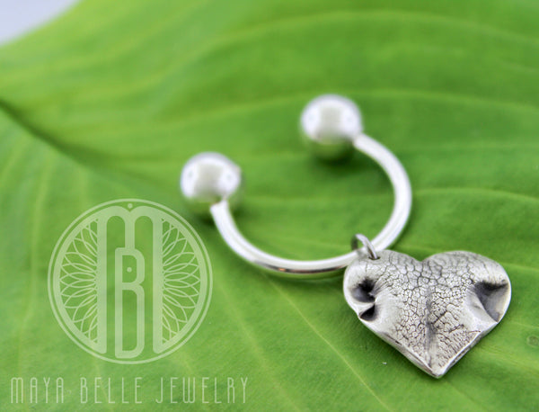 Large Doggie Nose (or Paw) Print Charm on a Sterling Silver Precision Threaded Keychain - Maya Belle Jewelry
