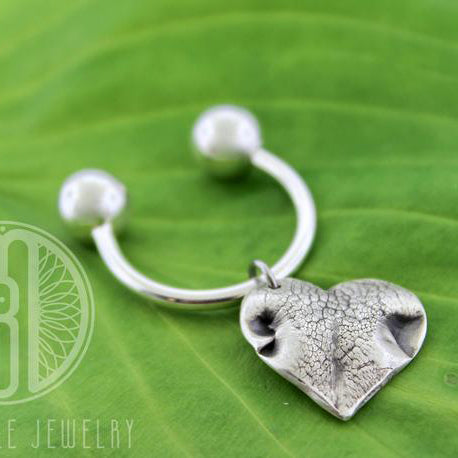 Sterling silver Threaded Keychain customized with pet nose or paw print - Maya Belle Jewelry