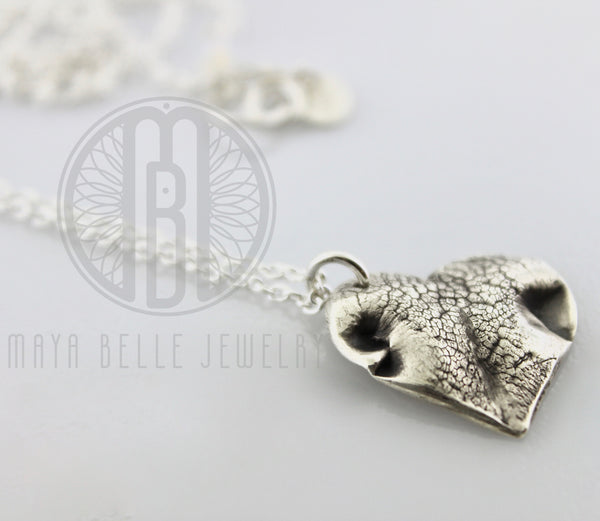 Dog Nose or Paw Print Pendant Necklace With Engraving on The Back - Maya Belle Jewelry