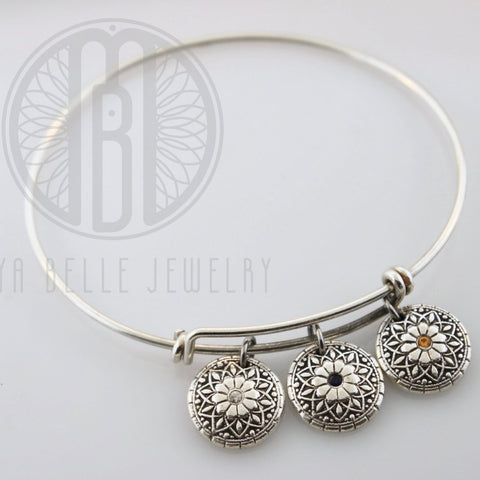 Mandala Fingerprint Bangle with Set Birthstones (Choose from 1-3 Mandalas) - Maya Belle Jewelry