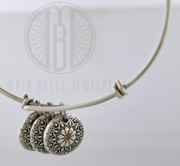Mandala Baby Print or Fingerprint Bangle with Set Birthstones - Maya Belle Jewelry
