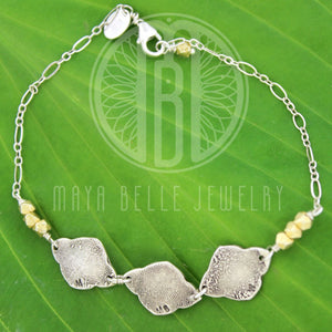 Lotus Fingerprint Charm Bracelet With Gold Geometric Beads (with Choice of Initials and up to 5 charms) - Maya Belle Jewelry