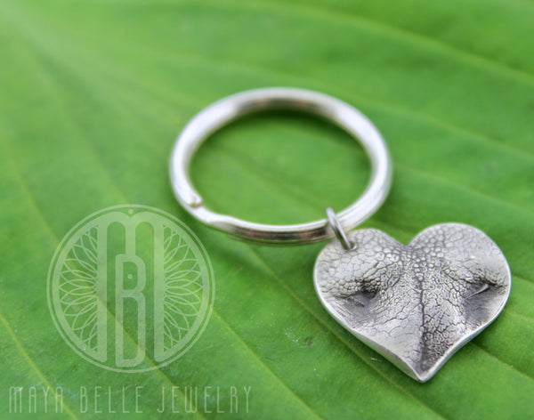 Large Doggie Nose (or Paw) Print Keychain with Custom Engraving - Maya Belle Jewelry