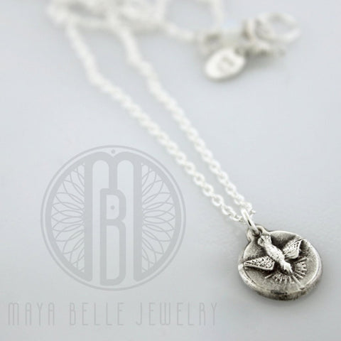 Holy Spirit Necklace In Choice of Silver or Bronze - Maya Belle Jewelry