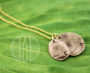 Two Children's Fingerprints Necklace in Bronze - Maya Belle Jewelry