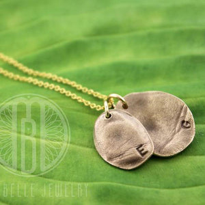 Molded Fingerprint Pendant with Choice of Metal, Initial(s) and Quantity - Maya Belle Jewelry