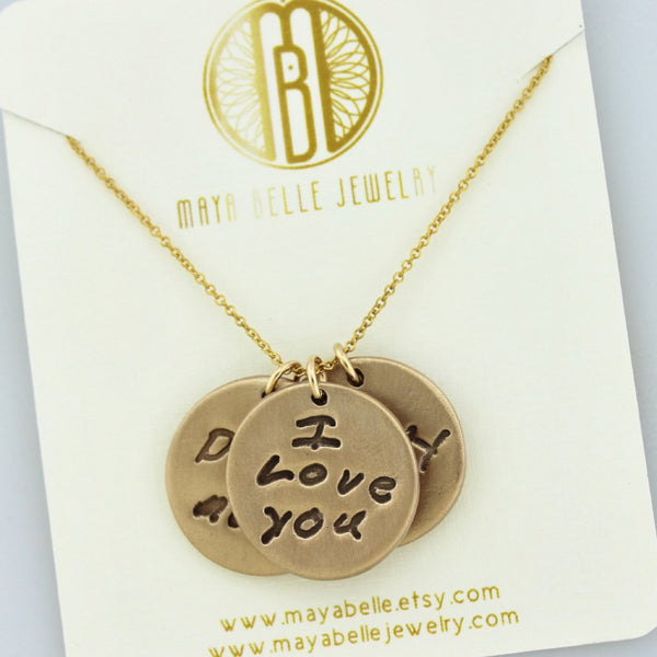 Large Custom Handwriting Charm Necklace in Pure Bronze - Maya Belle Jewelry