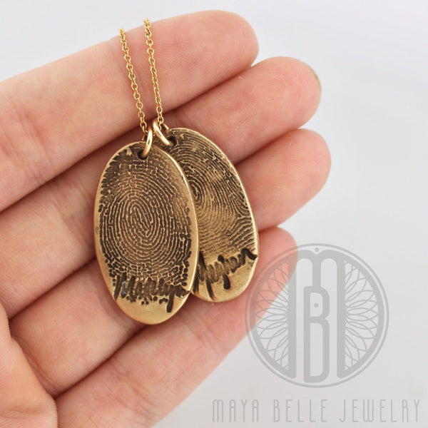 Large Bronze Fingerprint with Actual Handwriting, Family Necklace in Bronze - Maya Belle Jewelry