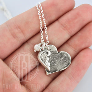 Large Heart Fingerprint Charm with Angel Wing and Birthstone