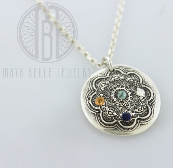 Handmade Mandala Pendant Necklace with Birthstones in Pure Silver - Maya Belle Jewelry