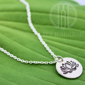 Simplistic Lotus Flower Necklace in Pure Silver - Maya Belle Jewelry