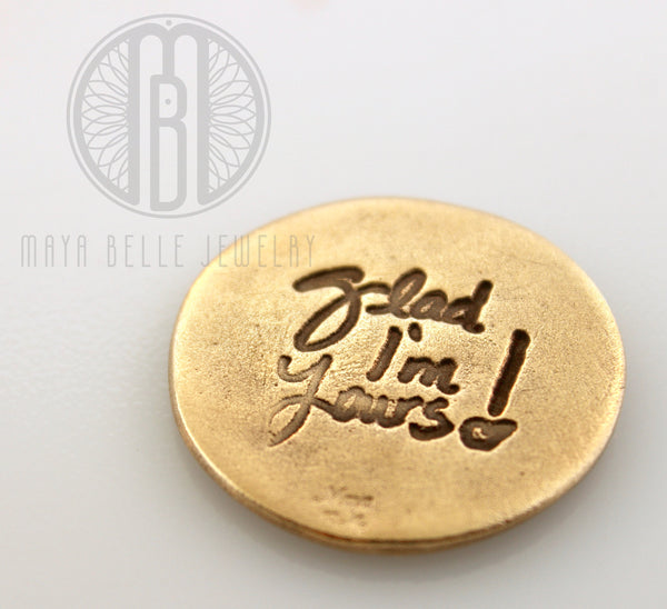 Handwriting Good Luck Pocket Charm in Pure Bronze - Maya Belle Jewelry