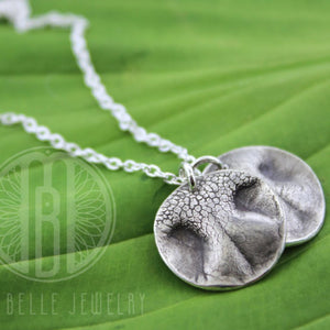 Two Dog Nose Print Pendants Necklace with Choice of Shape and Engraving - Maya Belle Jewelry