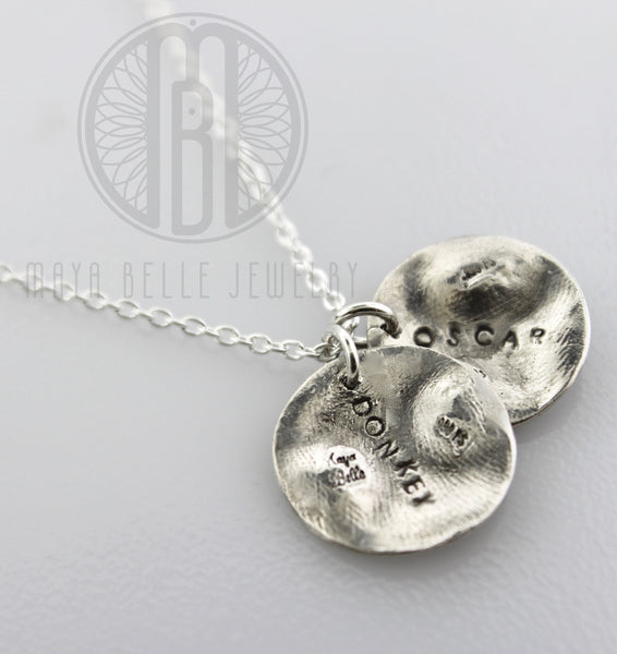 Two Small Doggie Nose Prints Necklace - Maya Belle Jewelry
