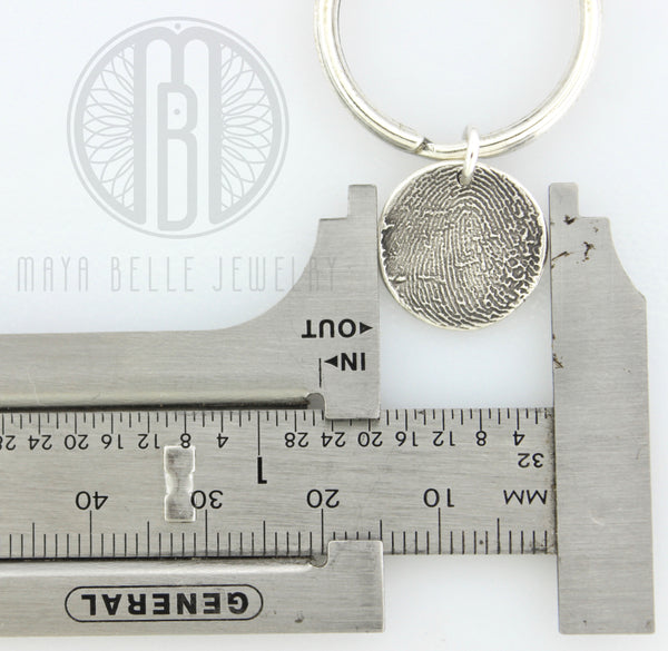 Silver Fingerprint Charm Keychain with Choice of Shape - Maya Belle Jewelry