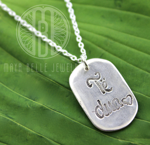 Dog Tag with Fingerprint and Handwriting - Maya Belle Jewelry