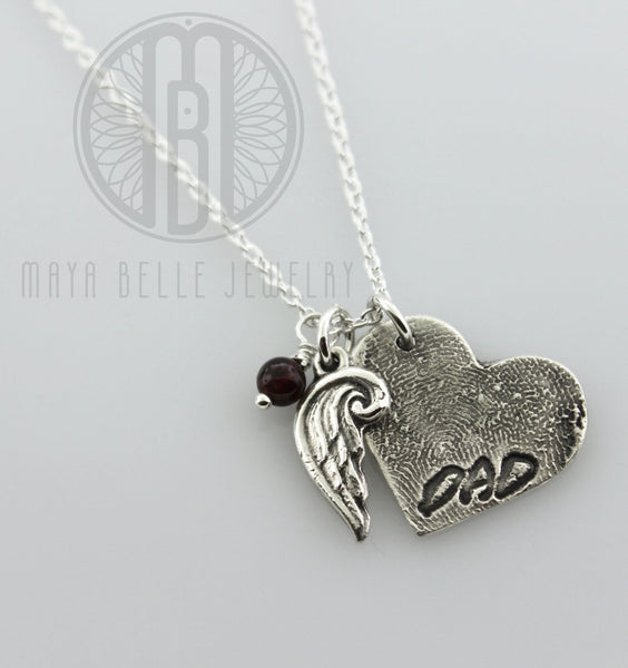 Large Fingerprint with Angel Wing Necklace With Handwriting Birthstone and Additions on the Back - Maya Belle Jewelry